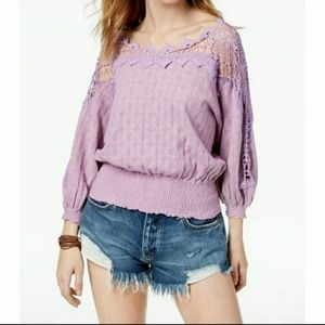 Free People Lavender Love Lace Top XS